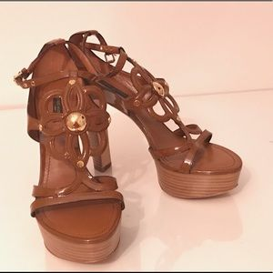 e9c96f2db02b Louis Vuitton Shoes - Louis Vuitton Ankle Strap Lotus Flower Heels
